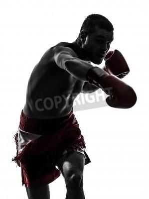 Fototapeta jeden kaukaski mężczyzna wykonywania boks tajski w studio sylwetka na białym tle