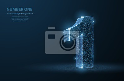 Fototapeta Jeden. Streszczenie wektor 3d numer 1 ilustracja na białym tle na niebieskim tle. Uroczystość, sukces, zwycięzca, symbol lidera.