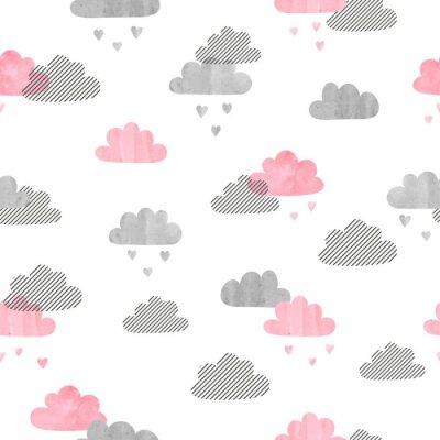 Fototapeta Jednolite akwarela chmury wzorca. Deszcz serca. Wektor tła.