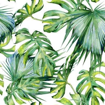 Fototapeta Jednolite Akwarele ilustracji tropikalnych liści, gęstą dżunglę. Malowane ręcznie. Banner z motywem Tropic letnim mogą być używane jako tło tekstury, papier pakowy, tapety tekstylne lub wzór.
