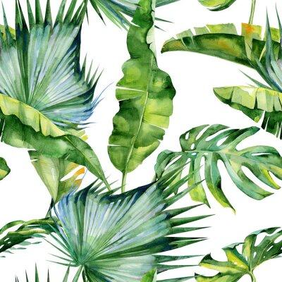 Fototapeta Jednolite Akwarele ilustracji tropikalnych liści, gęstą dżunglę. Wzór z motywem Tropic letnim mogą być używane jako tło tekstury, papier pakowy, włókienniczej, tapety.