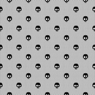 Fototapeta Jednolite czarne koronki z czaszki na białym tle.