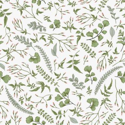 Jednolite kwiatowy wzór. Liście i zioła.