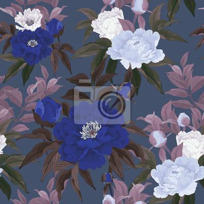 Jednolite kwiatowy wzór z czerwonych, różowych i białych róż na ciemnym b