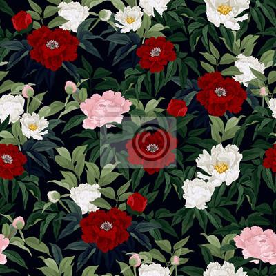 Jednolite kwiatowy wzór z czerwonych, różowych i białych róż na czarny