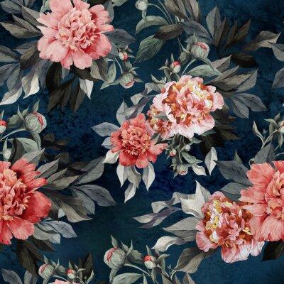 Jednolite kwiatowy wzór z czerwonymi i różowych róż i piwonii