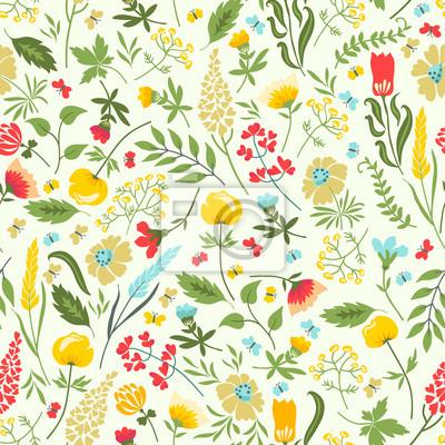 Jednolite kwiatowy wzór z kwiatów i ziół