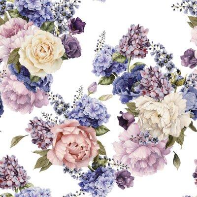 Jednolite kwiatowy wzór z peonies, akwarela.