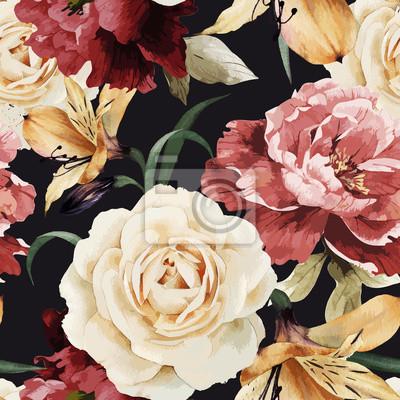 Jednolite kwiatowy wzór z róż, akwarela. Wektorowe illustrat