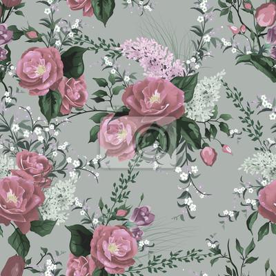 Jednolite kwiatowy wzór z róż i bzu na jasnym tle