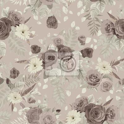 Jednolite kwiatowy wzór z róż na jasnym tle