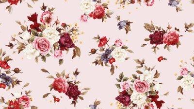 Jednolite kwiatowy wzór z różami, akwarela.