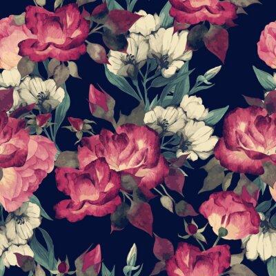 Jednolite kwiatowy wzór z różami, akwarela. ilustracji wektorowych.