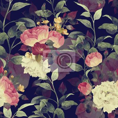 Jednolite kwiatowy wzór z różami, akwarela. Wektor.