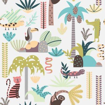 Fototapeta Jednolite tło z kreskówek zwierząt dżungli
