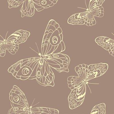 Fototapeta Jednolite tło z motyli na beżowym tle