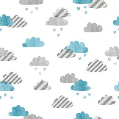 Fototapeta Jednolite wektor akwarela chmury wzorca. Deszcz serca.