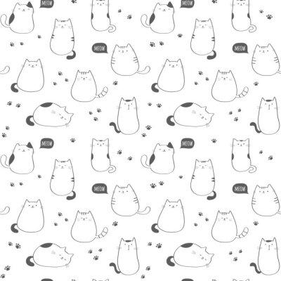Fototapeta Jednolite wektora deseniu z funny cute kotów