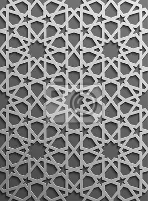 Fototapeta Jednolite wzór islamski 3d. Tradycyjny element projektu arabski.