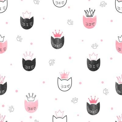 Fototapeta Jednolite wzór koty księżniczka. Wektor tła akwarela projektowania dla dzieci.