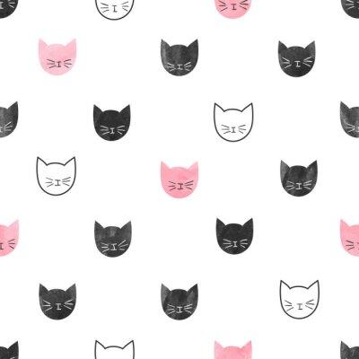 Fototapeta Jednolite wzór słodkie koty. Wektor tła z głów akwarela kotów