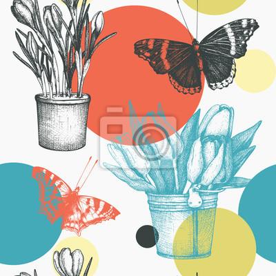 e7f1effbd404f4 Fototapeta Jednolite wzór z atramentem ręcznie rysowane motyle i kwiaty  ilustracji. Abstrakcyjne tło wiosna