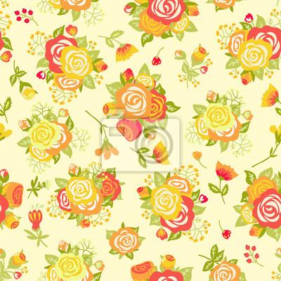 Jednolite wzór z bukietem róż