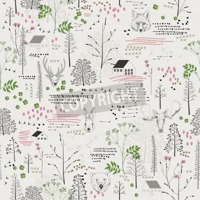 Fototapeta Jednolite wzór z drzew, krzewów, liści, jelenie, łosie, lisy, niedźwiedzie, królików, królików, zwierząt, na jasnym tle w stylu vintage. Tło dla tkaniny, scrapbooking w stylu hipster. Strony rysunku.