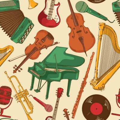 Fototapeta Jednolite wzór z kolorowych instrumentów muzycznych