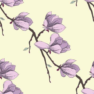 Fototapeta Jednolite wzór z magnolia_2-02