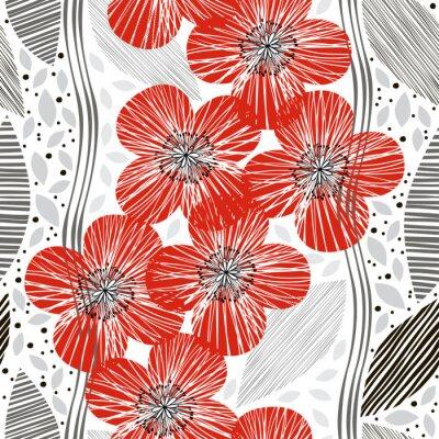 Fototapeta Jednolite wzór z maku. Ręcznie rysowane tła kwiatu.