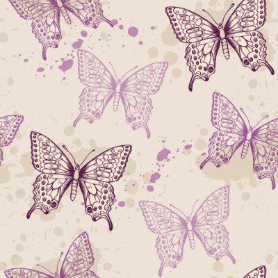 Fototapeta Jednolite wzór z motyli fioletowych