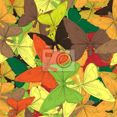Fototapeta Jednolite wzór z motyli kolory jesieni