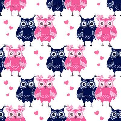 Fototapeta Jednolite wzór z niebieskim i różowym sowy