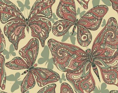 Fototapeta Jednolite wzór z ręcznie rysowane motyle latające.