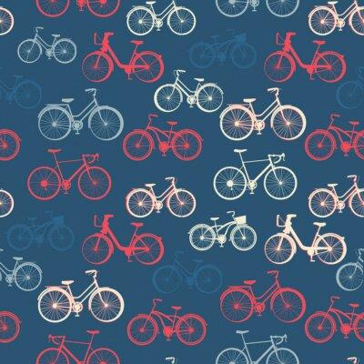 Fototapeta Jednolite wzór z rocznika rowerów