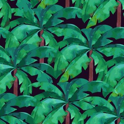 Fototapeta Jednolite wzór z tropikalnych liści palmowych. Lato ilustracji wektorowych