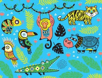 Fototapeta Jednolite wzór z tropikalnych zwierząt