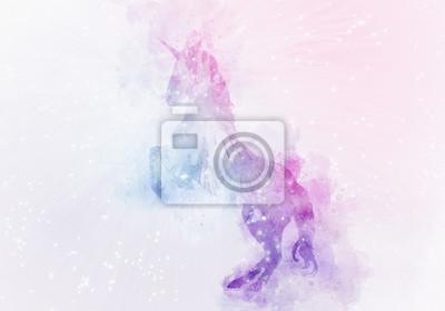 Fototapeta jednorożec magia akwarela malarstwo