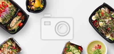 Fototapeta Jedzenie na wynos, różnorodność zdrowych posiłków widok z góry