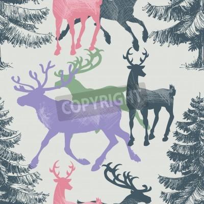 Fototapeta Jeleń i drzewa sosnowego lasu bez szwu wzór, Christmas motyw