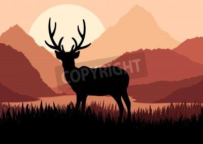 Fototapeta Jeleń w dzikiej przyrody krajobrazu ilustracji