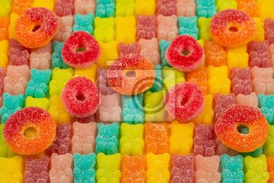 Fototapeta Jelly sweats bears rainbow pattern. Top view.