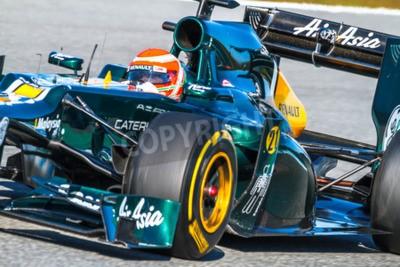 Fototapeta Jerez de la Frontera, Hiszpania - 10 lutego: Jarno Trulli z Catherham wyścigi F1 na sesji szkoleniowej w dniu 10 lutego 2012 roku, w Jerez de la Frontera, Hiszpania