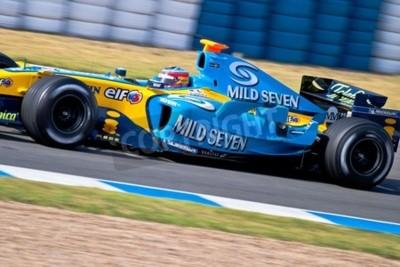 Fototapeta Jerez de la Frontera, Hiszpania - 22 czerwca: Fernando Alonso z Renault F1 wyścigi na sesji szkoleniowej w dniu 22 czerwca 2005 w Jerez de la Frontera, Hiszpania
