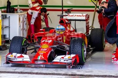 Fototapeta Jerez de la Frontera, Hiszpania - 31 stycznia: Fernando Alonso z Scuderia Ferrari F1 pozostawiając dziurę na treningu 31 stycznia 2014 w Jerez de la Frontera, Hiszpania