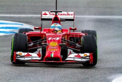 Fototapeta Jerez de la Frontera, Hiszpania - 31 stycznia: Fernando Alonso z Scuderia Ferrari F1 wyścigów na sesji szkoleniowej w dniu 31 stycznia 2014 w Jerez de la Frontera, Hiszpania