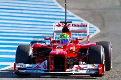 Fototapeta JEREZ DE LA FRONTERA, SPAIN - FEB 07: Felipe Massa of Scuderia Ferrari F1 races on training session on February 07 , 2012, in Jerez de la Frontera , Spain