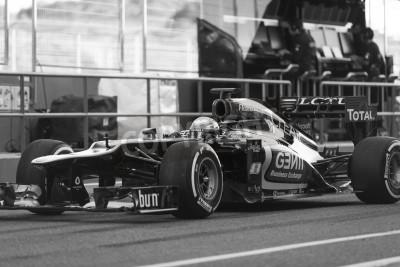 Fototapeta Jerez (Hiszpania) - 10 lutego: Romain Grosjean testuje swój nowy Lotus F1 wóz na pierwszym teście na torze Jerez, Andalucia Hiszpania 2013.