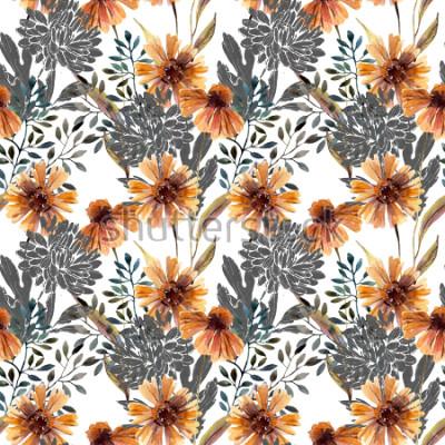 Fototapeta Jes tło. Wzór kwiatowy. Kwiaty, liście, gałęzie drzewa wypełnione doodle tekstury. Ręcznie malowane ilustracje do tkanin, tekstylia, projekt opakowania